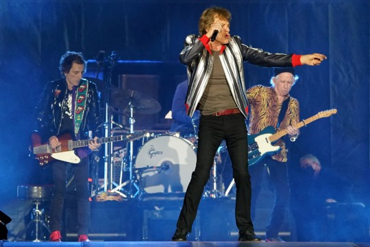 Mick Jagger, Keith Richards and Ronnie Wood of The Rolling Stones kick off their U.S. tour, a month after the death of drummer Charlie Watts, in St. Louis, Missouri, U.S. September 26, 2021. REUTERS/Lawrence Bryant