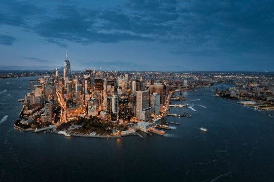 Hudson River and New York Harbour from the air