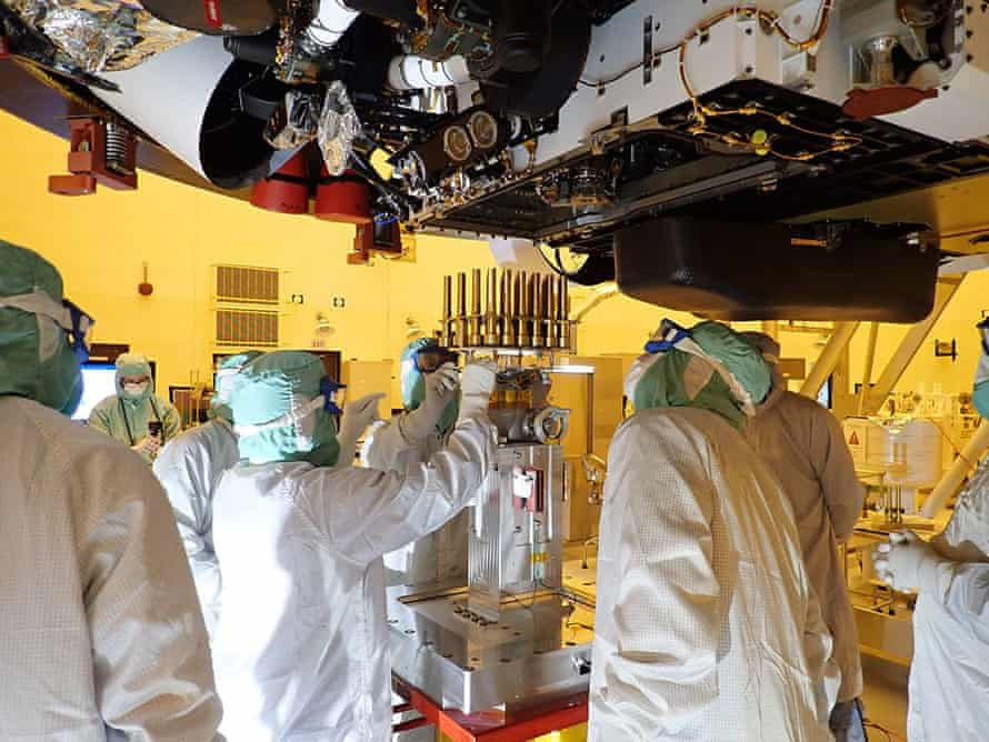 Protecting 'all the planets, all the time' … Nasa staff prepare the Mars Rover.