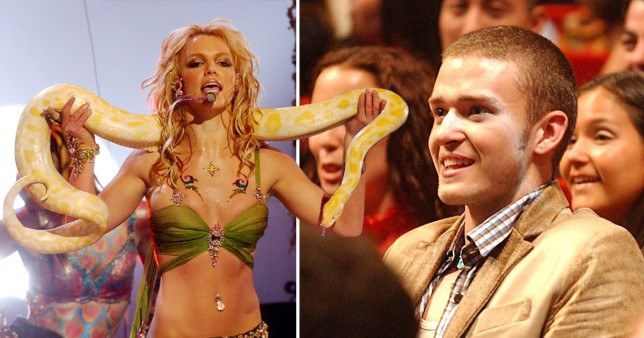 Britney Spears performing at 2001 MTV VMAs and Justin Timberlake in the audience.