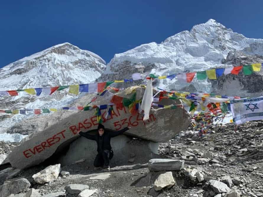 Sarah Darlison at Everest base camp.