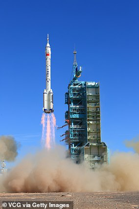The Shenzhou-12 spacecraft is launched from the Jiuquan Satellite Launch Center on June 17, 2021 in Jiuquan, Gansu Province of China, carried on the Long March-2F rocket, to Chinese Tiangong space station
