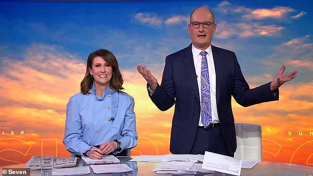 Taking a stand: Sunrise presenters Natalie Barr (left) and David 'Kochie' Koch (right) are reportedly refusing to work with unvaccinated hair and makeup artists after a Covid scare last month put everyone on set - including pregnant newsreader Edwina Bartholomew - at risk