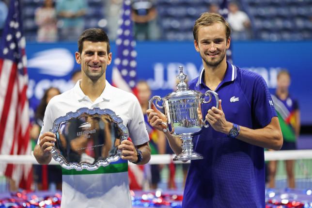 Daniil Medvedev and Novak Djokovic
