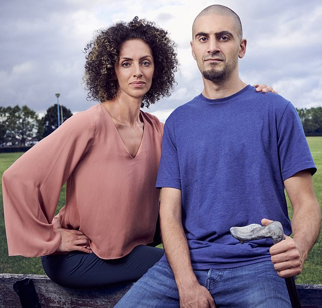 Omar Moustapha , now 33, with his sister, Mariam.Eight years ago, his motorbike skidded over a manhole cover, and he was catapulted into a lamp post then a telephone box. He sustained 27 bone fractures, severed nerves in the neck, arm and back, dislocated his skull from his spine, became deaf in one ear and suffered four brain haemorrhages