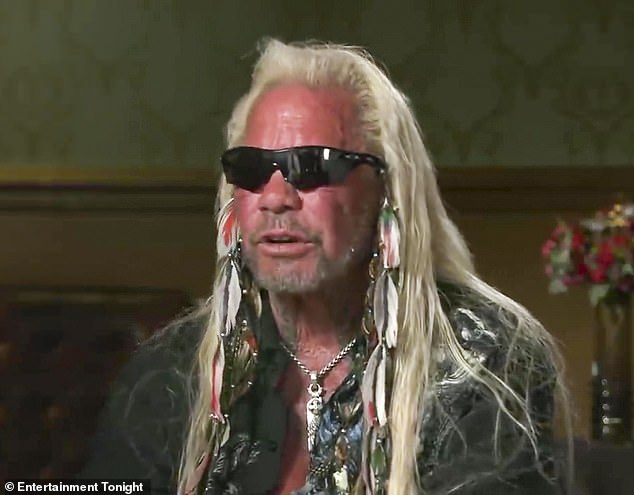 Does not compute: Dog the Bounty Hunter, 68, claimed that he had a 'pass' at one time to freely use the N-word in an ET interview released Wednesday. He was fired 15 years earlier for using the word; seen in 2015 in NYC