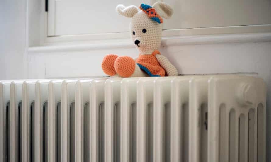 A soft toy on a radiator