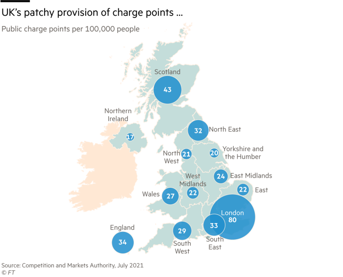 UK's patchy provision of EV charge points … Public charge points per 100,000 people