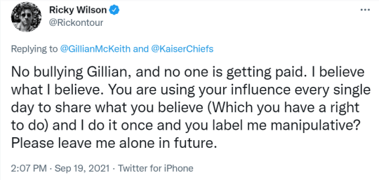 Ricky Wilson tweet reply to Gillian McKeith