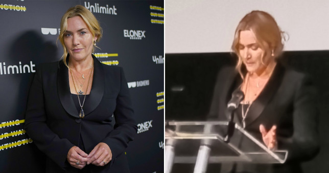 Kate Winslet tears up on stage