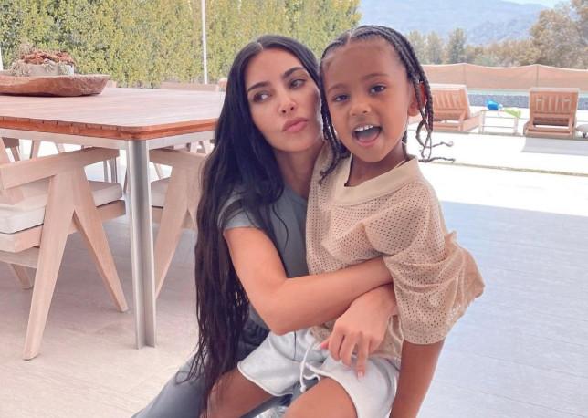 Kim Kardashian and son Saint.