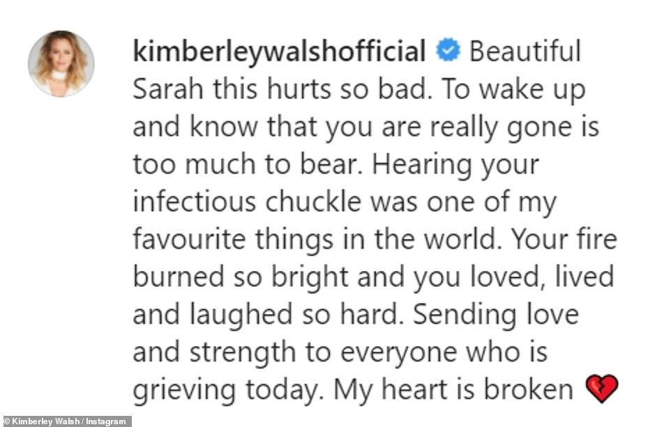 Touching:Kimberley Walsh is the latest Girls Aloud star to pay tribute to her late bandmate Sarah Harding following her untimely death from breast cancer at the age of 39