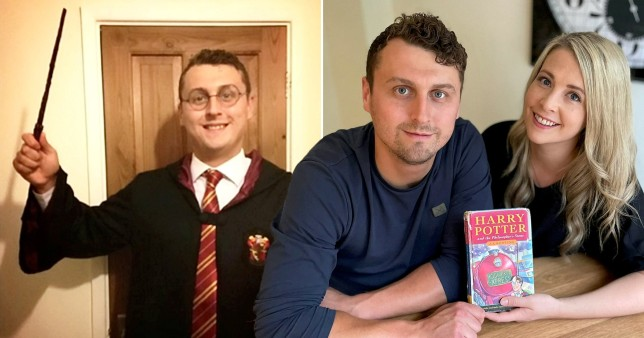 pictures of a man named harry potter and his sister katie withthe first edition hary potter book the plan to sell