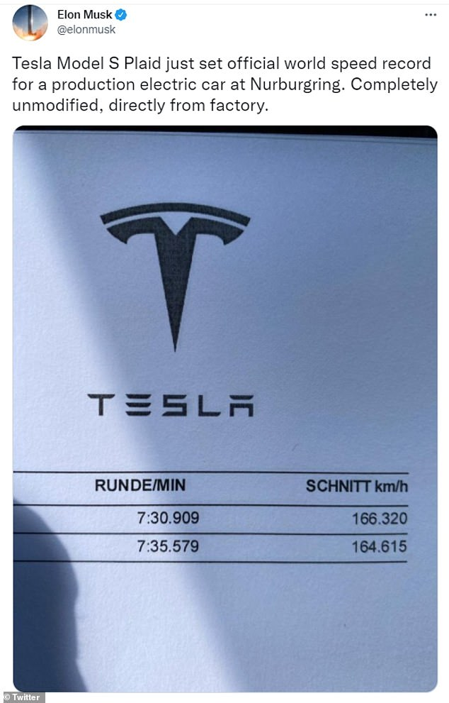 Elon Musk announced Thursday that a 'completely unmodified, directly from factory' Tesla Model S Plaid set a new world speed record for production electric cars. The Model S Plaid completed a full lap on Germany's 13-mile-long Nürburgring Nordschleife track in seven minutes and 35.579 seconds