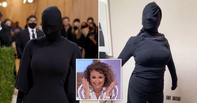 On the left is an image of Kim Kardashian at the Met Gala 2021 and on the right is Nadia Sawalha's attempt at recreating the look. There is a picture in the middle of Nadia laughing.