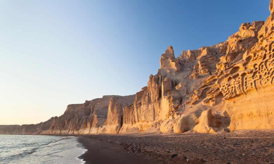 Pumice cliffs at Vlychada Beach.