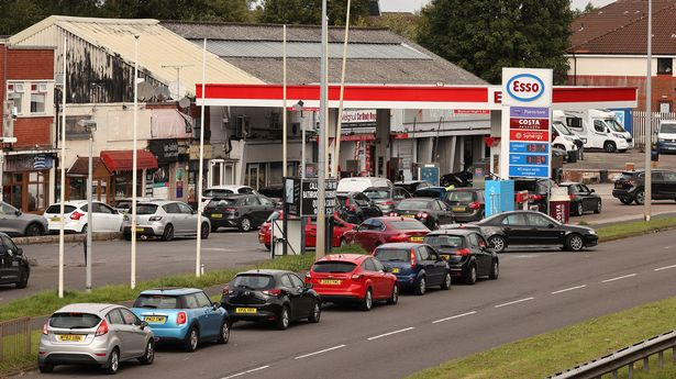 Long queues at a Esso Petrol Station in Liverpool