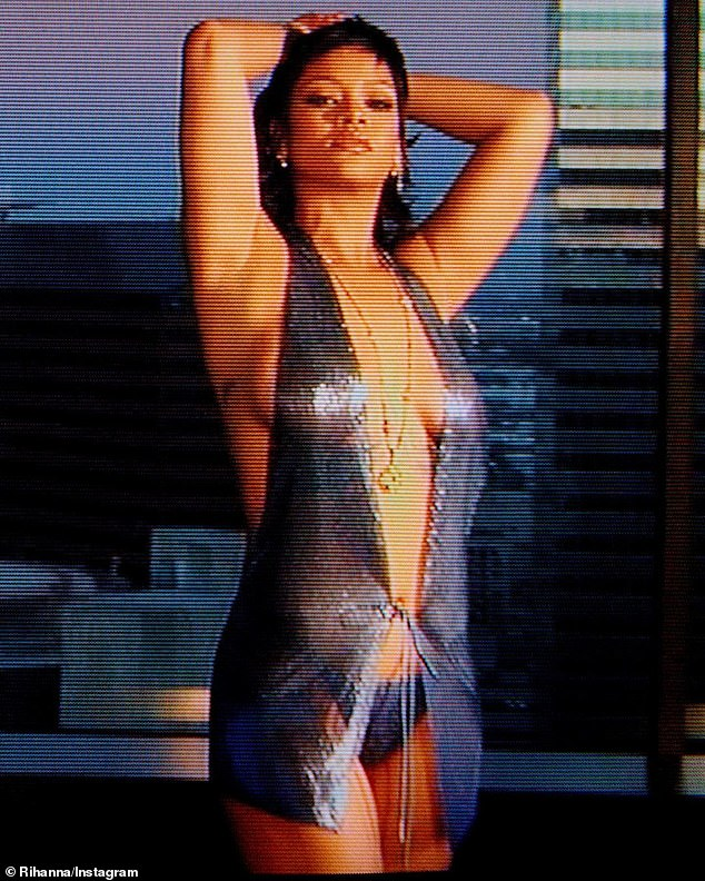 Looking good! Rihanna stunned in a daring metallic top while teasing her upcoming Savage X Fenty fashion show, which starts streaming on Thursday, September 24th