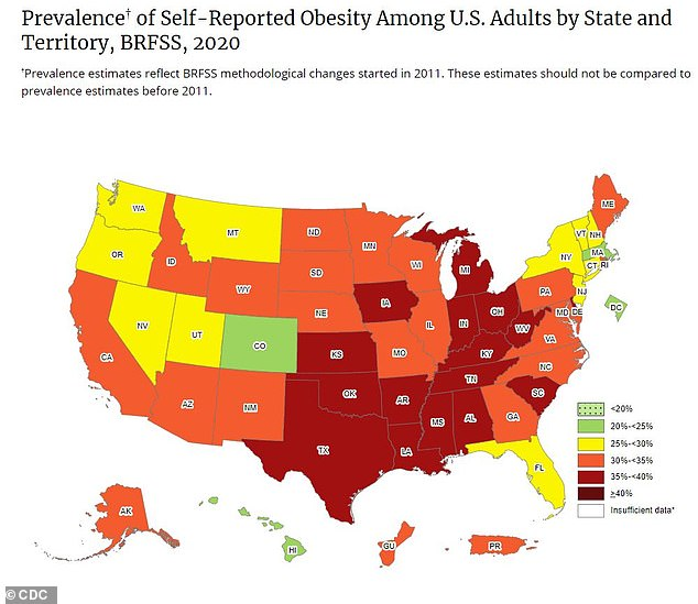 A new CDC map found that 16 states including Alabama, Arkansas, Delaware, Indiana, Iowa, Kansas, Kentucky, Louisiana, Michigan, Mississippi, Ohio, Oklahoma, South Carolina, Tennessee, Texas and West Virginiahave adult obesity rates of at least 35% (above)