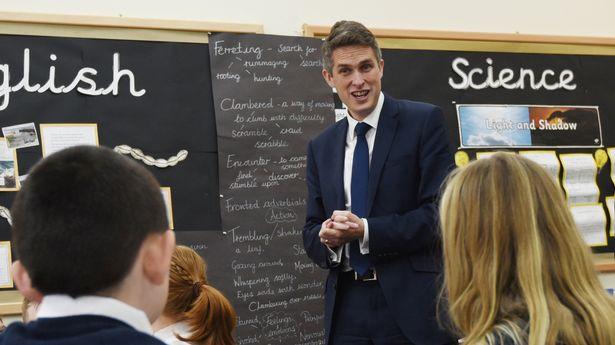 Education Secretary Gavin Williamson visits a school