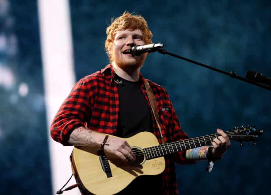 Ed Sheeran's classic look.