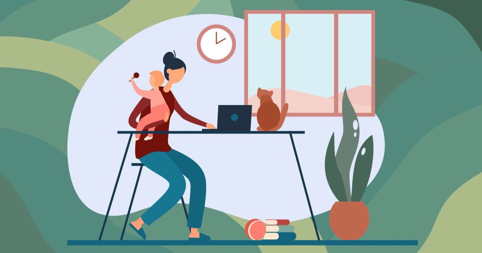 Flat vector illustration of cartoon woman with baby on hands working remotely on laptop