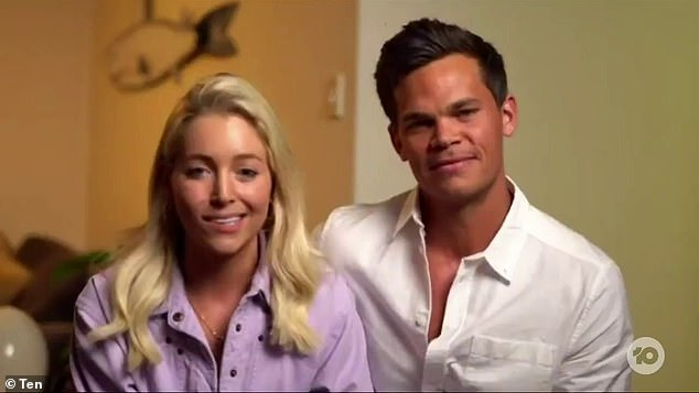 Nice guy:Jimmy Nicholson (right) says he will reach out to his runner-up, Brooke Cleal. The pilot appeared on The Project on Friday and said he was 'giving her space' for now as the 27-year-old recovers from being dumped at the finale. Pictured left:Holly Kingston