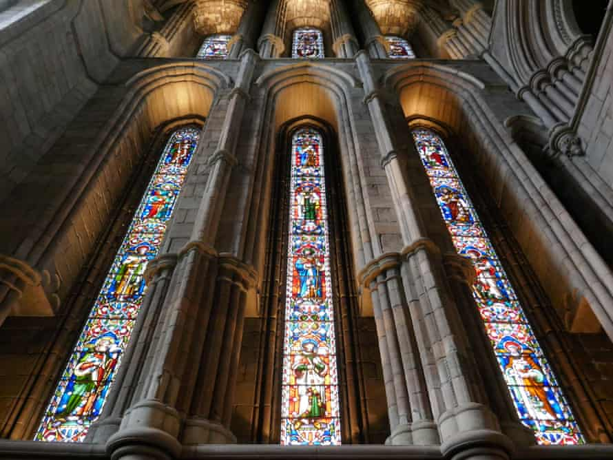 Stained glass in Hexham Abbey, UK.