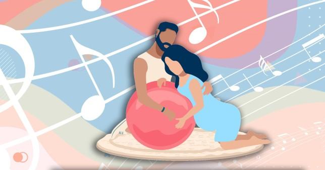 illustration of woman giving birth