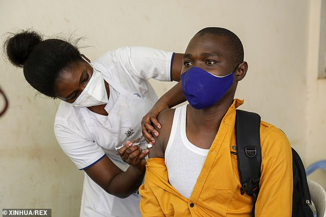 The U.S. will be donating 1.2 million COVID-19 vaccine doses to four African nations: Uganda, The Democratic Republic of the Congo, Seychelles and Guinea. Pictured: A man in Uganda received a COVID-19 vaccine last month