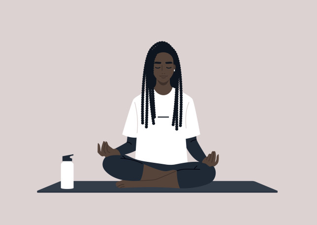 Young calm female Black character meditating in a lotus yoga pose, mindful lifestyle concept