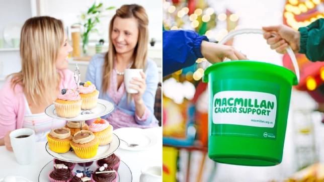 comp image of women enjoying a coffee morning and a macmillan fundraising bucket
