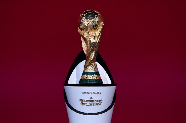 The World Cup trophy in Qatar.