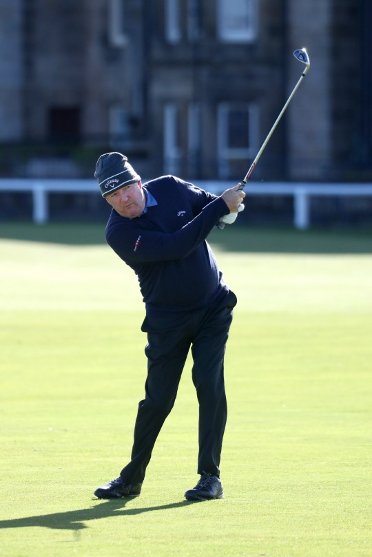 Piers Morgan plays his second shot on the 1st hole during Day Two of The Alfred Dunhill Links Championship at The Old Course on October 01, 2021 in St Andrews, Scotland