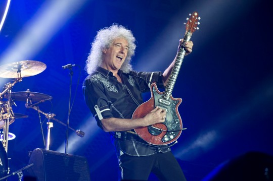 BARCELONA, SPAIN - MAY 22: Brian May of Queen performs on stage at Palau Sant Jordi on May 22, 2016 in Barcelona, Spain. (Photo by Jordi Vidal/Redferns)