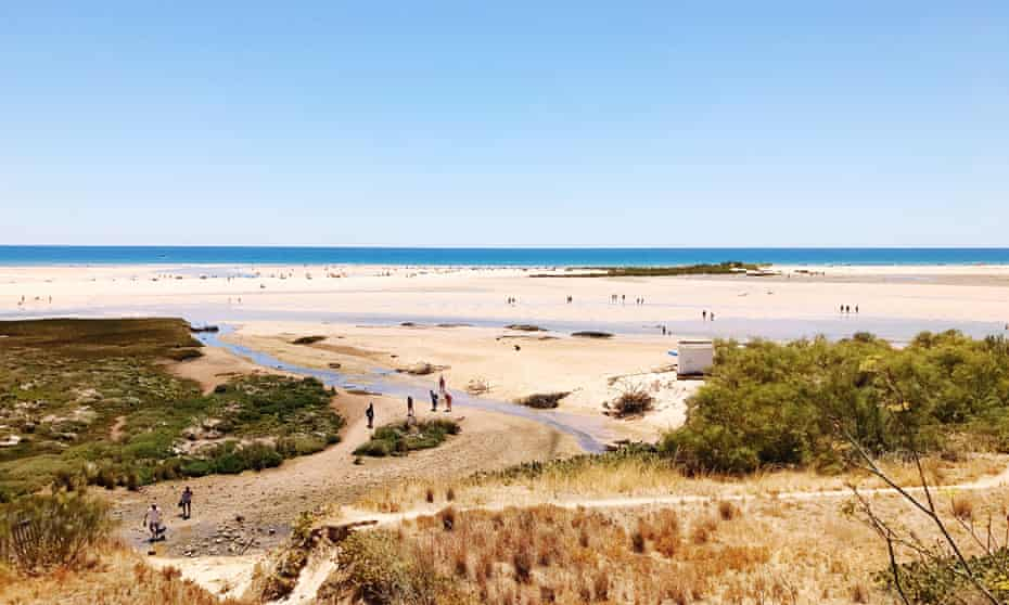 Scenic View Of Beach Against Clear Blue SkyPhoto Taken In Portugal, Tavira.