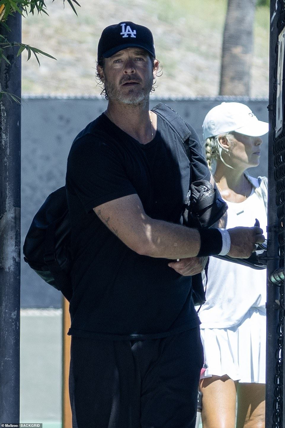 Robin Thicke, now 44, is seen in Malibu, Florida, on September 14 after playing a tennis match with a group of friends