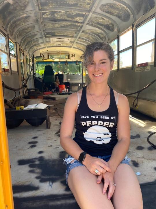 Elizabeth Stone working on the bus.