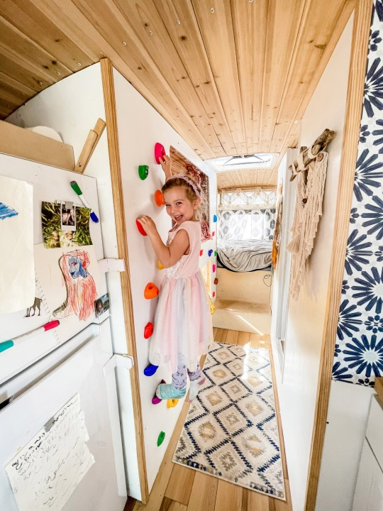 Pepper in the finished bus on the climbing wall