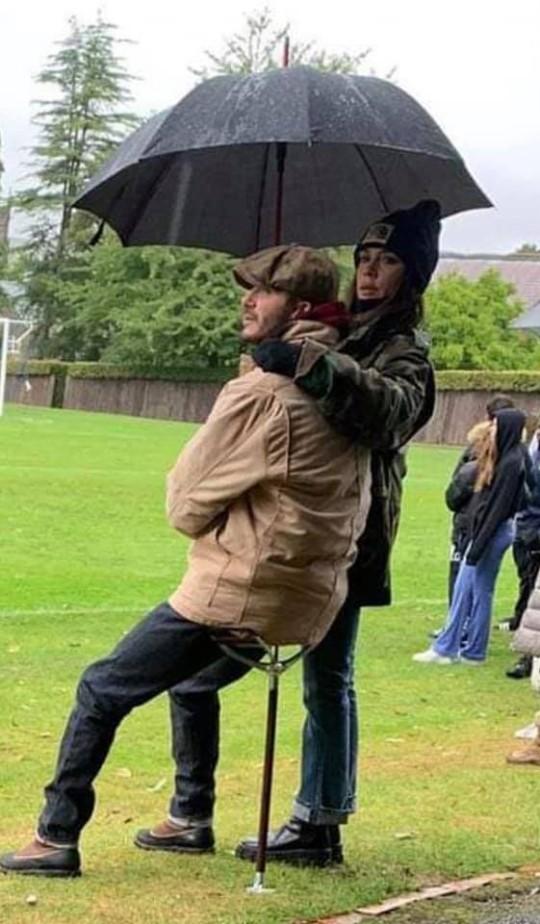David and Victoria Beckham watching son Cruz play football at Repton School.
