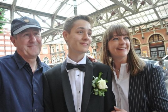 Archie Lyndhurst with his father Nicholas Lyndhurst and mother Lucy