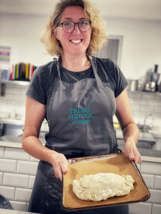 Tracey with a Cornish Pasty