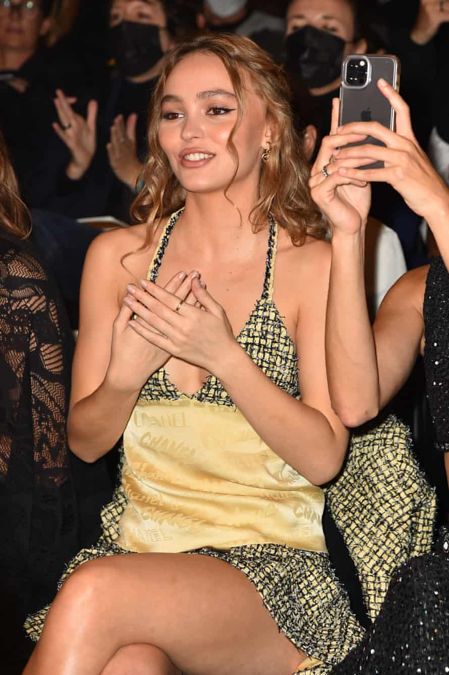 The actor Lily-Rose Depp on the front row.