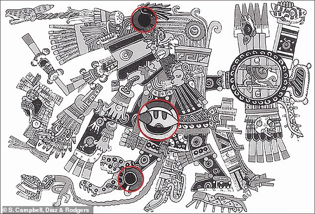 Tezcatlipoca, lord of the smoking mirror, with circular obsidian mirrors on his temple, his chest and his foot highlighted
