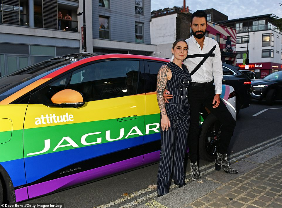 Sparkly boots:Rylan Clark-Neal (R) and Lucy Spraggan arrived in a Jaguar to the event