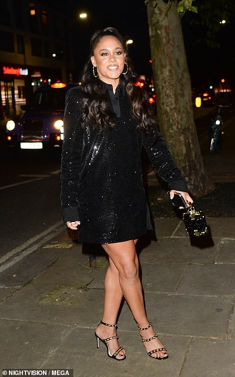 Legs for days: Alex Scott looked great in her black dress as she arrived at the venue