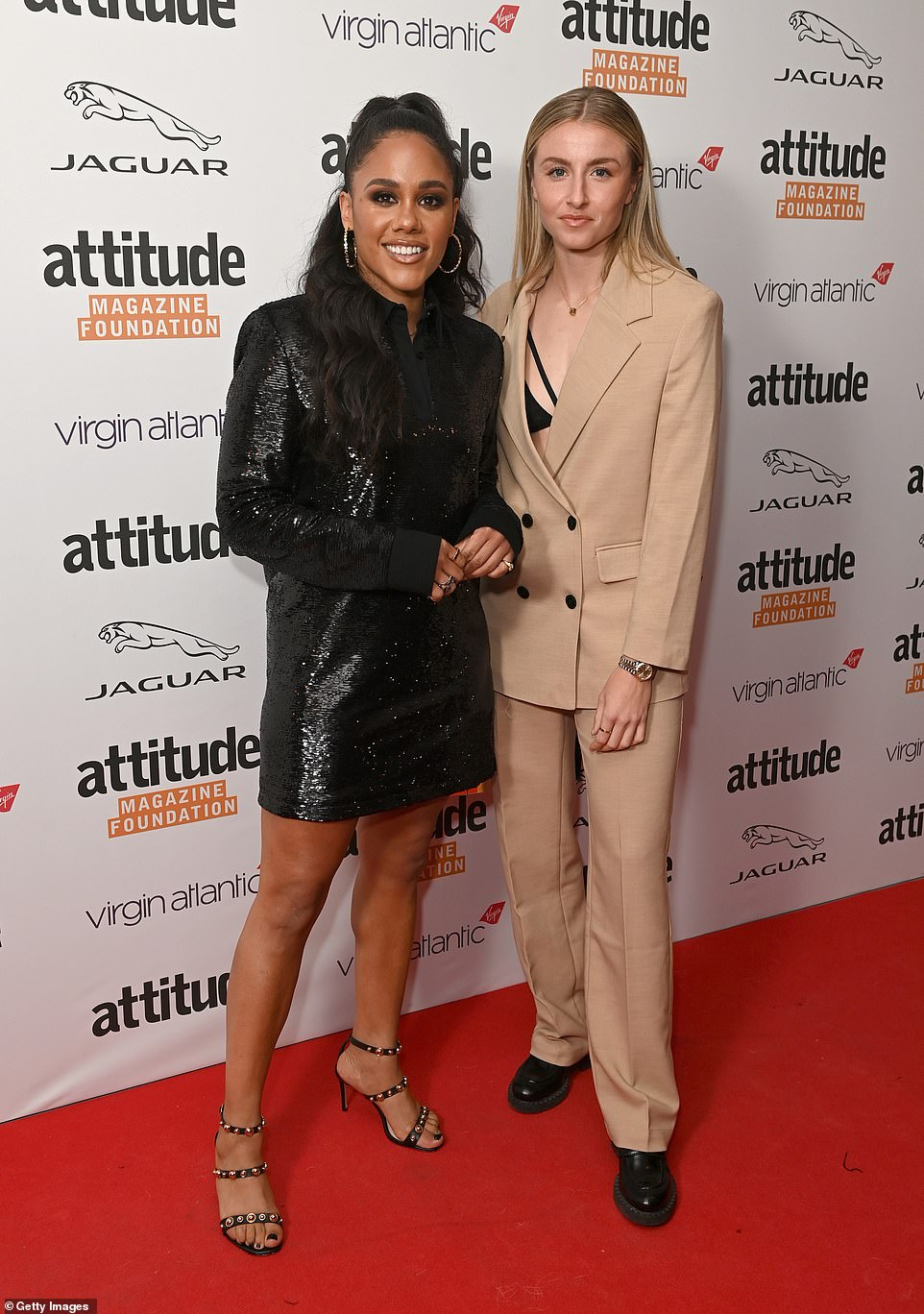 Plus one:Alex Scott (L) attended The Virgin Atlantic Attitude Awards 2021 with a female friend