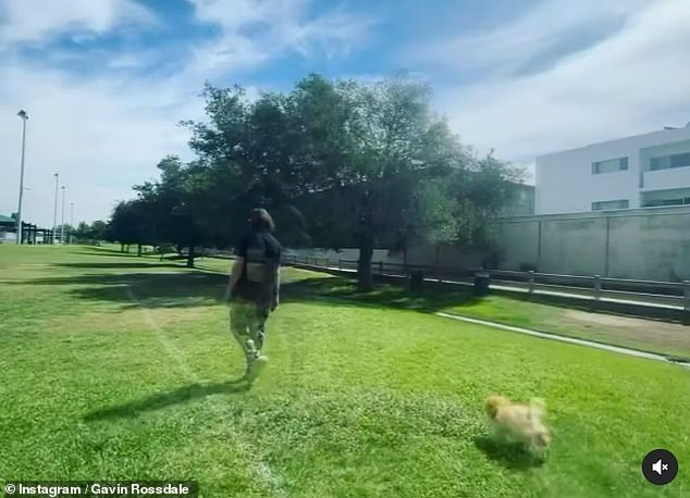 Mysterious:The hitmaker went onto share a video on Wednesday of himself heading out for a walk with his dog, which he captioned: 'Push on forward'