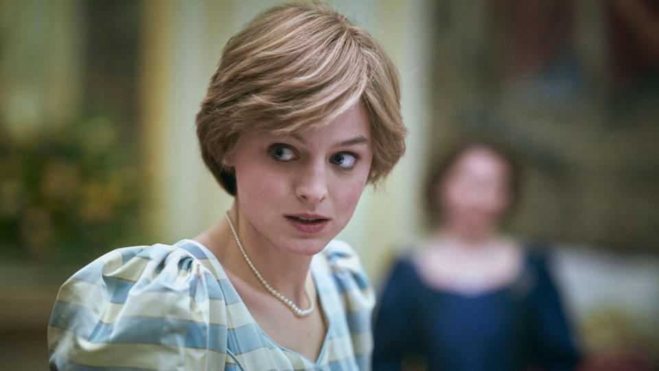 Emma Corrin earned plaudits and awards for their portrayal of Princess Diana in series four of 'The Crown'. (Des Willie/Netflix)