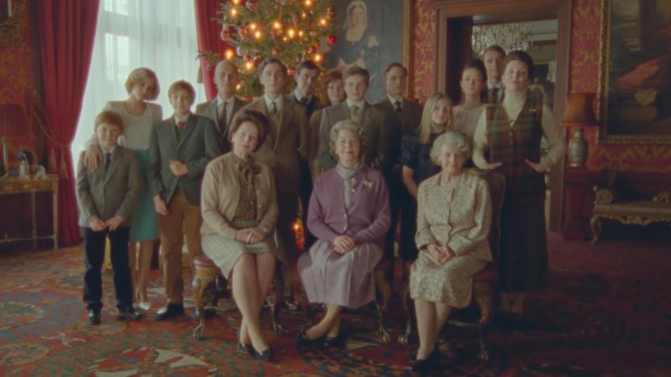 The royal family gathers for Christmas at Sandringham in 'Spencer'. (STX Films)